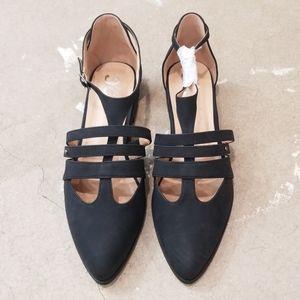 JC Black Strappy Pointy Toe Ballet Flat Shoes